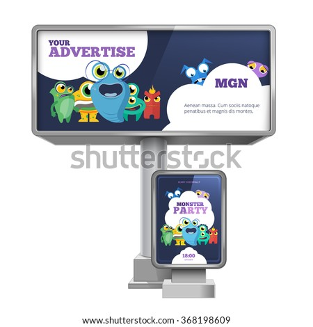 Outdoor advertising billboard and citylight with template design. Advertisement stationery, commercial marketing.  Vector illustration set - stock vector