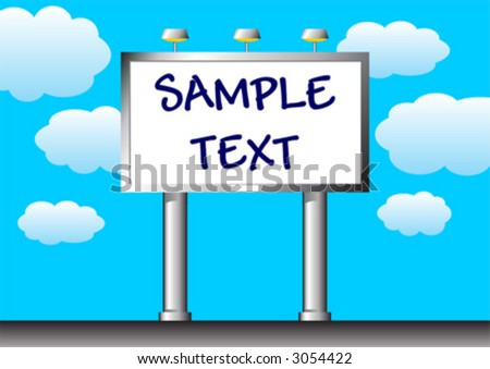 Outdoor. Advertising billboard with copy space over a cloudy blue sky. - stock vector