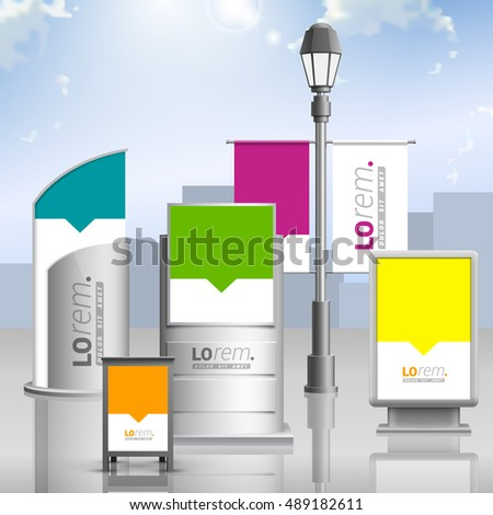 Outdoor advertising design for corporate identity with color shapes. Stationery set