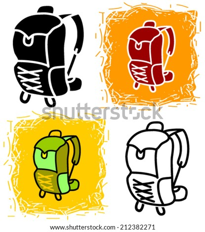 Outdoor backpack icon with color variations - vector - stock vector