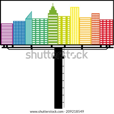 Outdoor billboard, vector illustration  - stock vector