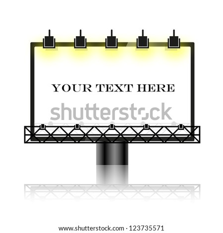 Outdoor blank billboard with reflectors and lights - Vector Illustration object on white background. Eps 10 - stock vector