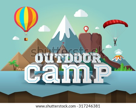 Outdoor camp. Poster with 3d text. Travel and tourism - stock vector