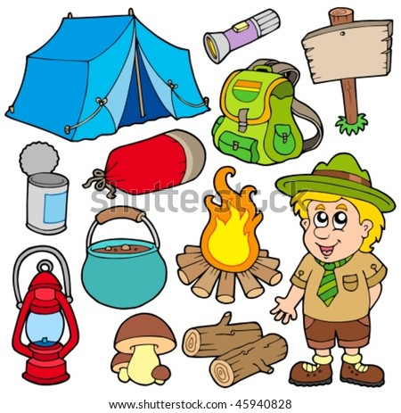 Outdoor collection on white background - vector illustration. - stock vector