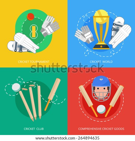 Outdoor cricket game equipment four flat icons composition with bat trophy and gloves abstract isolated vector illustration - stock vector