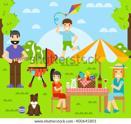 Outdoor family together and happy fun outdoor family. Happy outdoor family have rest with dog. Friends friendship outdoor family dining people together happy fun concept vector illustration. - stock vector