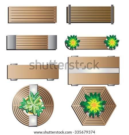 Outdoor Furniture Bench Top View Landscape Stock Vector