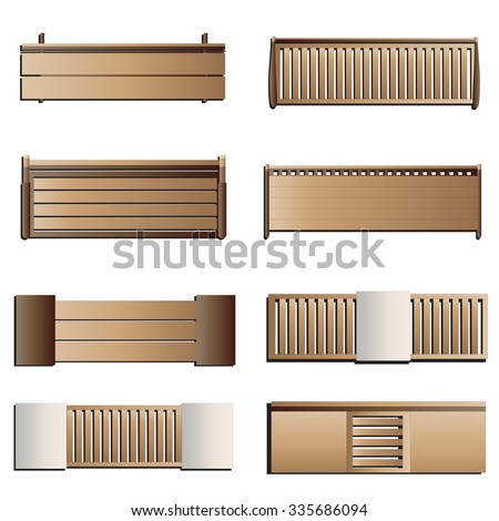 outdoor furniture bench top view set 6 for landscape design vector illustration - Garden Furniture Top View