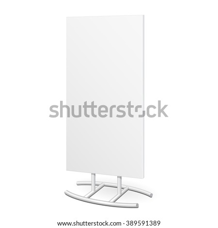 Outdoor Indoor Stander Advertising Stand Banner Shield Display, Advertising. Mockup, Mock Up, Template. Products On White Background Isolated. Ready For Your Design. Product Packing. Vector EPS10 - stock vector