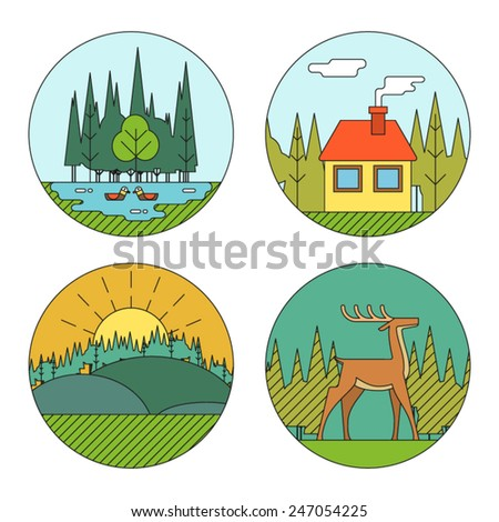 Outdoor Life Symbol Lake Forest House Deer Duck Line Icons Nature Landscapes Logo Isolated Flat Design Vector Illustration - stock vector