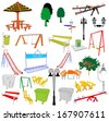 Outdoor park vector elements isolated on white background. Group of playground objects illustration.  - stock photo