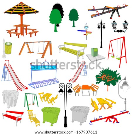 Outdoor park vector elements isolated on white background. Group of playground objects illustration.  - stock vector