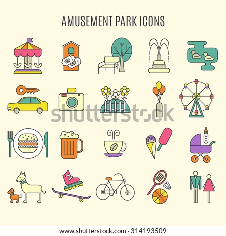 Outdoor park vector elements, isolated.  Set of playground objects.