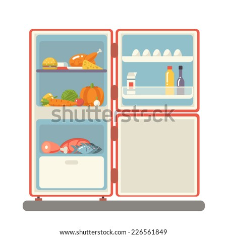 outdoor refrigerator with food products icon trendy flat design vector illustration - stock vector