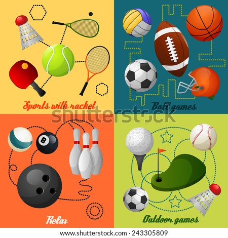 Outdoor sport games squash tennis soccer basketball rugby accessories four flat icons composition  abstract isolated vector illustration - stock vector
