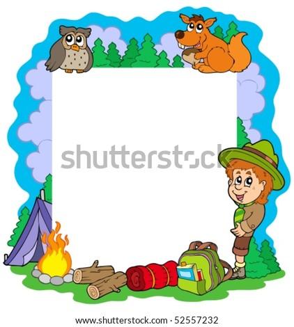 Outdoor summer frame - vector illustration. - stock vector