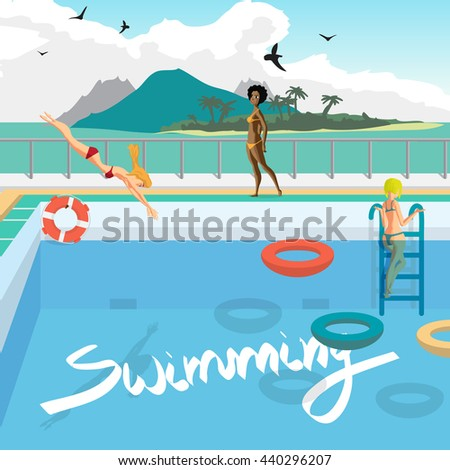Outdoor swimming pool on beach tropics stock vector - Clipart piscine ...