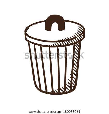Outdoor trash bin symbol. Isolated sketch icon pictogram. Eps 10 vector illustration. - stock vector