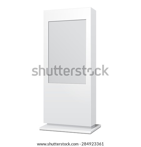 Outdoor White POS POI Citylight Lightbox Advertising Stand. Illustration Isolated On White Background. Mock Up Template Ready For Your Design. Vector EPS10 - stock vector