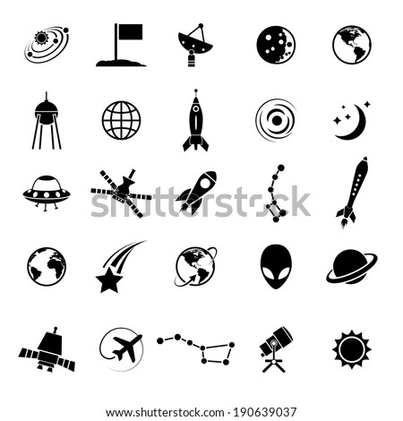 Outer Space Air Transport Icons Silhouettes Stock Vector 190639037