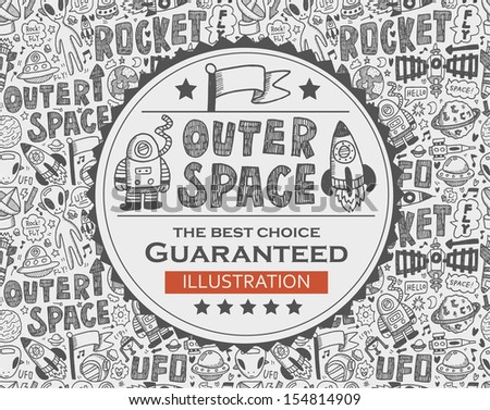outer space doodle background - stock vector