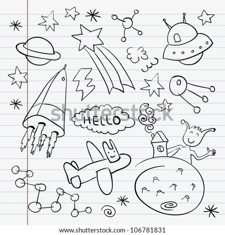Outer space doodle notebook set - stock vector
