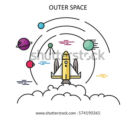 Blue line illustration concept strategic vision stock for Outer space design