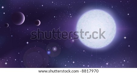 Outer space landscape - white star with several planets in foreground - stock vector