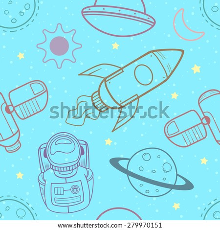 Outer space seamless background. Vector illustration - stock vector
