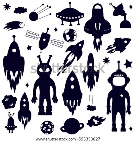 Outer Space Silhouettes Cosmo Symbols Vector Stock Vector 555353827