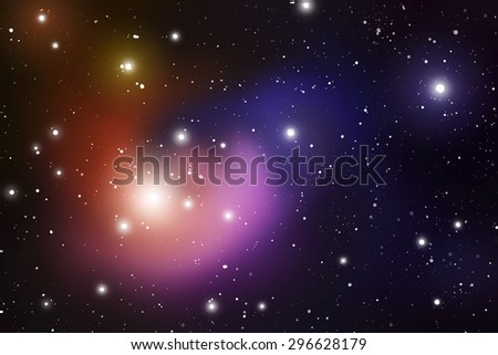 Outer Space. Vector Digital Illustration of Universe. Vector Galaxy Background.