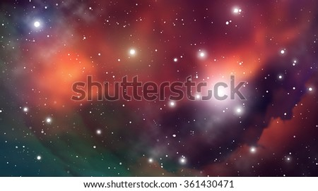Outer Space. Vector Digital Illustration of Universe. Vector Galaxy Background. - stock vector