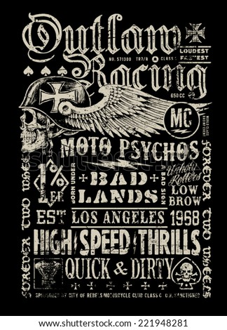 Outlaw Racing vintage poster t-shirt graphic - stock vector