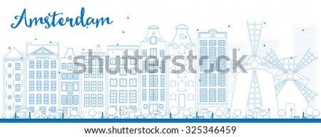 Outline Amsterdam city skyline with blue buildings. Vector illustration. Business travel and tourism concept with historic buildings. Image for presentation, banner, placard and web site.  - stock vector