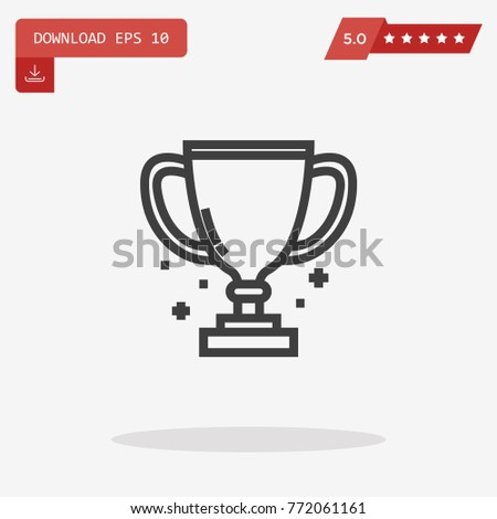 Trophy Prize Cup Thin Line Isolated Stock Vector 790656382