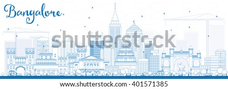 Outline Bangalore Skyline with Blue Buildings. Vector Illustration. Business Travel and Tourism Concept with Historic Buildings. Image for Presentation Banner Placard and Web Site. - stock vector