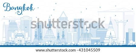 Outline Bangkok Skyline with Blue Landmarks. Vector Illustration. Business Travel and Tourism Concept with Bangkok City. Image for Presentation Banner Placard and Web Site. - stock vector