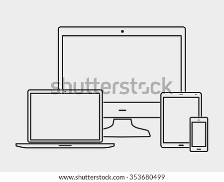 Outline black electronic devices with white blank screens - computer monitor, smartphone, tablet, and notebook isolated on white background - stock vector