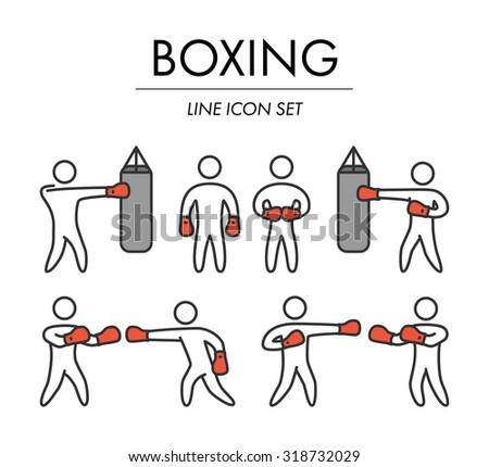 Outline boxing icons set. Linear figure boxer. Line art sport symbols - stock vector