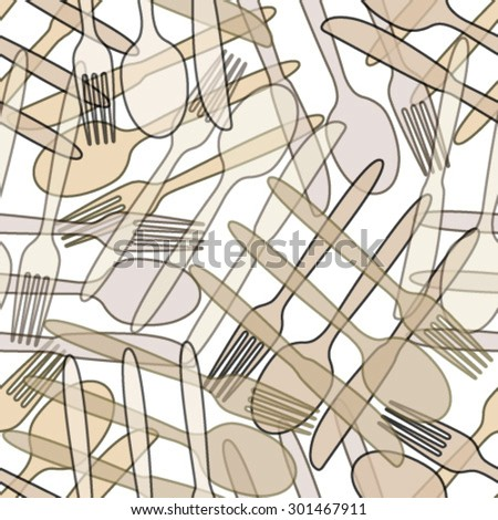 outline brown cutlery seamless pattern - stock vector