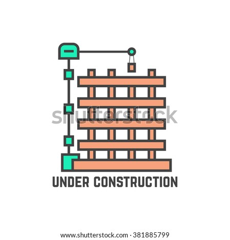 outline building under construction. concept of page not found info, cityscape, machine, apartment, engineer, growth, build. flat style trend modern logo design vector illustration on white background - stock vector