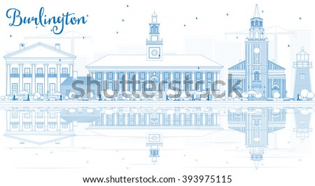 Outline Burlington (Vermont) City Skyline with Blue Buildings and Reflections. Vector Illustration. Business and tourism concept. Image for presentation, banner, placard or web site - stock vector