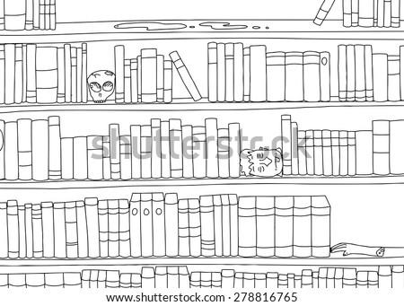 Outline cartoon of strange bookends in bookshelf - stock vector