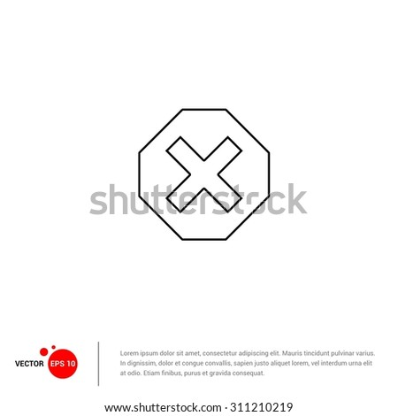 Outline Close Icon, Vector Illustration, Flat pictogram icon