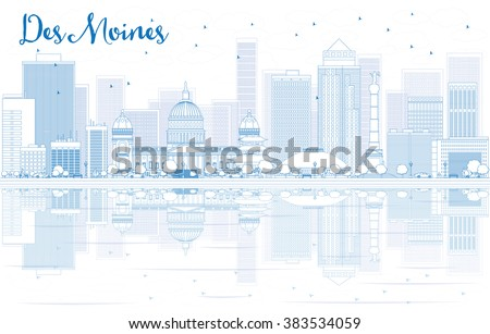 Outline Des Moines skyline with blue buildings and reflections. Vector illustration. Business travel and tourism concept with place for text. Image for presentation, banner, placard and web site. - stock vector