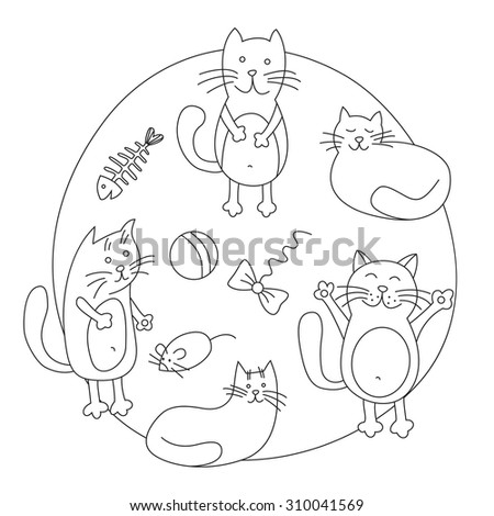 Outline drawing cute cats. Vector