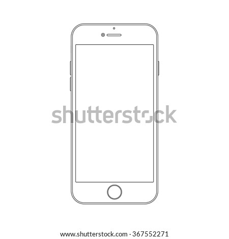 Outline drawing modern smartphone. Elegant thin line style design.  - stock vector