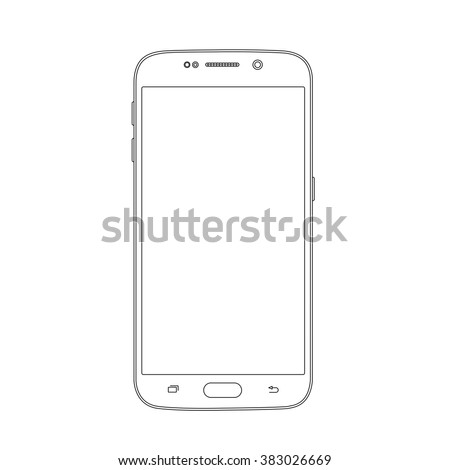 Outline drawing smartphone. Elegant thin line style design - stock vector