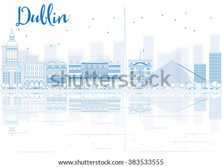 Outline Dublin skyline with blue buildings and reflections. Vector illustration. Business travel and tourism concept with place for text. Image for presentation, banner, placard and web site. - stock vector