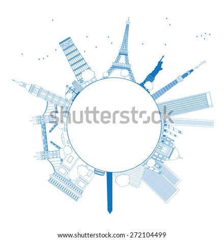Outline Famous monuments and landmarks around the world. Vector illustration with copy space - stock vector